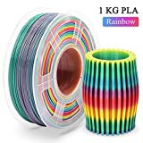 PLA Filament Rainbow 1.75mm, Multicolor PLA Filament for 3D Drucker, Maßgenauigkeit +/- 0,02 mm, 2,2 LBS (1 KG), 3D Printer Filament 1.75mm