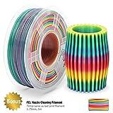 PLA Filament Rainbow, 3D Warhorse PLA Filament 1,75 mm, PLA 3D Drucker Filament, Maßgenauigkeit +/- 0,02 mm, 2,2 LBS (1 kg), 1,75 mm Filament, Bonus mit 5M PCL-Düsenreinigungsfilament