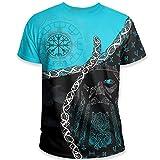 WDBAYXH Unisex Odin Wikinger Kompass Vegvisir Tattoo Runes 3D Gedruckte Kurzarm T-Shirts,Mode Vintage Coole Lässige Rundhals-T-Shirts,Norse Mythology Pagan Streetwear Shirt,Blau,L