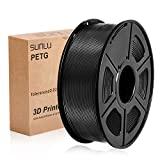 SUNLU PETG 3D filament 1.75mm 1KG(2.2lb), PETG 3D Printer Filament, Dimensional Accuracy +/- 0.02 mm, 1 kg Spool, 1.75 mm, Black PETG …