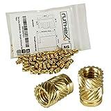 ruthex Gewindeeinsatz M5 (50 Stück) - RX-M5x9,5 Messing Gewindebuchsen - Einpressmutter für Kunststoffteile - durch Wärme oder Ultraschall in 3D-Druck Teile