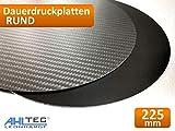 3D Drucker Dauerdruckplatte RUND 225mm x 1,0mm - ABS PLA PETG HIPS Filament (Carbon)