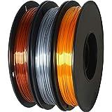 GIANTARM Silk Filament PLA 1.75mm,3D Drucker PLA Filament ,0.5 kg pro Spule, 3 Spulen (Gold + Silber + Kupfer)