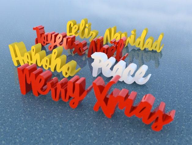 Weihnachts Schriftzug als Geschenkidee aus dem 3D Drucker