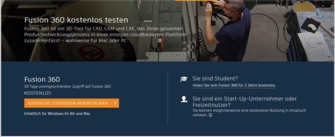 Startseite Fusion 360 von Autodesk