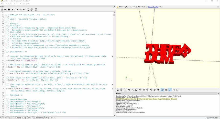 CAD Programm OpenSCAD