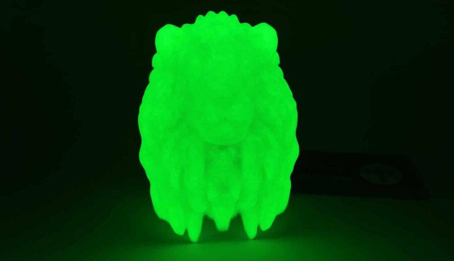 Löwenkopf gedruckt mit dem Glow-In-The-Dark-Filament von ColorFabb