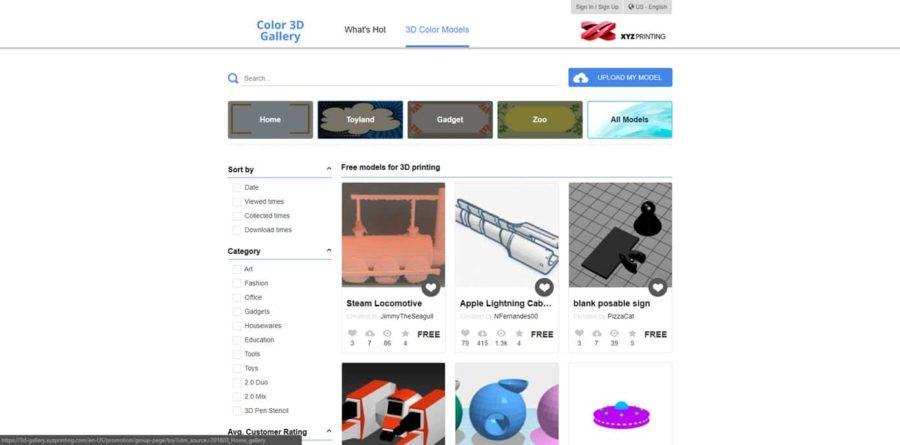 XYZPrinting - 3D Drucker Modelle kostenlos